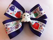 "Girls Hair Bow 4"" Wide Halloween Ghost Purple Ribbon French Barrette"
