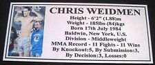 "MMA CHRIS WEIDMEN Champion Silver Photo Plaque ""FREE POSTAGE"""