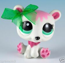 Littlest Pet Shop Polar Bear #2298 White and Pink With Aqua Green Eyes