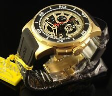 INVICTA NEW MENS 18K GOLD PLATED RESERVE SWISS CHRONOGRAPH -BLACK SKELETON DIAL