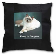 Birman Cat 'Purrrfect Daughter' Black Border Satin Scatter Cushion Ch, PD-85-CSB