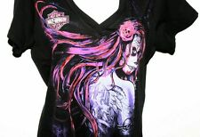 Womens Black Harley-Davidson Tee Shirt Pink Design V Neck  Made in USA Lg
