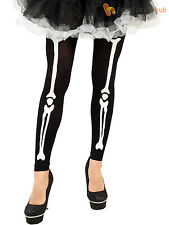 Ladies Skeleton Print Footless Tights Adults Halloween Fancy Dress Accessory STD
