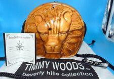 TIMMY WOODS Beverly Hills Collection LION Head FACE ACACIA Wood Purse & DUST BAG