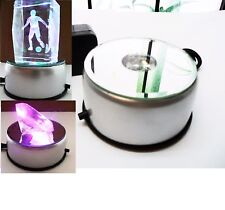 Brand New 3D Crystal Glass Trophy Laser 4LED Rotating Light Stand Base Display