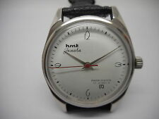 VINTAGE HMT JANATA HAND WINDING MENS WHITE DIAL STEEL WRIST WATCH RUN ORDER
