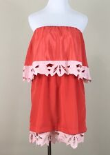 judith march M dress orange tube top strapless tier elastic mini flare knee line