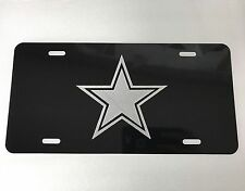 Dallas Cowboys Star Car Tag Diamond Etched on Black Aluminum License Plate