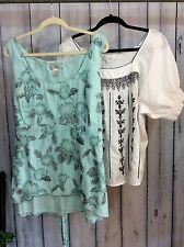 Women's Plus Size Clothing Lot 1X Shirts Tops Cotton Summer Boho Gypsy