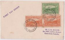 Stamps 1939 New Guinea 2d & 2 x 1/2d plane over goldfields on first day cover