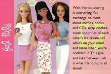 """ Friendship "" - Fashion Collectible Photo Card Mattel -- Barbie Doll Postcard"