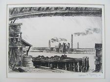 Arthur R. YOUNG (1895-1989) Original Signed Etching 'Blackwell's Island' 1926