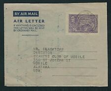 1951 Trinidad & Tobago Air Letter Sheet - Port of Spain to Mobile, Alabama