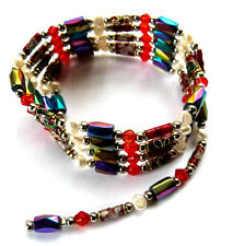 **RAINBOW MAGNETIC HEMATITE - CLOISONNE & PEARL WRAP BRACELET / NECKLACE**