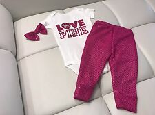 Baby Girl, Pink, Size 0-3 Months, Love Pink Outfit, 3pc Set, Clothes Lot