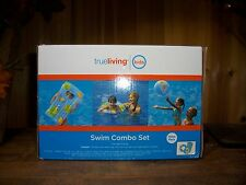 SWIM INFLATABLES COMBO SET BALL SWIM RING SURF MAT FOR AGES 3 AND UP BEACH FUN