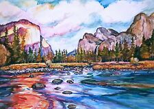 "11""x 15"" PAINTING YOSEMITE CALIFORNIA  Merced River  Painting Western Landscape"