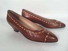 "BRUNO MAGLI LEATHER PUMPS BROWN w/STITCHING DRESS 1.5"" HEEL 6AA ITALY - EXC!"