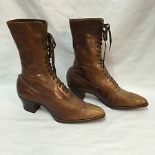 Brown Leather Boots Antique Victorian Ladies High-Top Lace-Up Peters St Louis