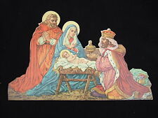 Antique vintage Catholic Nativity Christmas picture Die cut statuette 10 3/4""