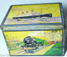VERY RARE TRANSPORT BISCUIT TIN C1920S ART DECO SHIP LINER TRAIN CAR PLANE BUS