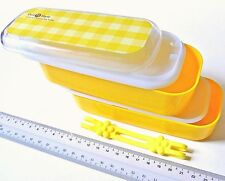i279 Microwave Yellow Check Bento Double Food Lunch Box Case 15x6.5x7cm + belt
