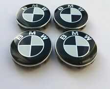 Black and White BMW Alloy Wheel Centre Caps 68mm,10 clips Sets of 4