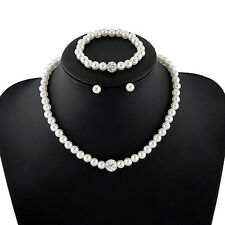 Women's Bride Wedding Jewelry Set Crystal Faux Pearl Necklace Bracelet Earrings