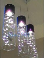 3 Lights New Modern Glass Bubble Purple Crystal Ceiling Lighting Pendant Lamp