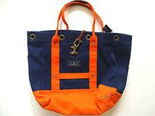 Ralph Lauren Polo Navy Blue & Orange Nautical Canvas Tote Bag