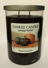 "YANKEE CANDLE SIMPLY HOME ""BLACK PUMPKIN"" 2-WICK SCENTED CANDLE WITH LID 19 OZ."