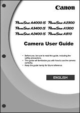 Canon Powershot A4000 IS  A3400 IS  A2400 IS Digital Camera User Guide  Manual