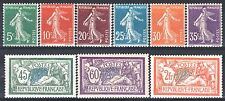 FRANCE ANNEE COMPLETE 1907 YVERT 137/145 , 9 TIMBRES NEUFS xx LUXE   M903