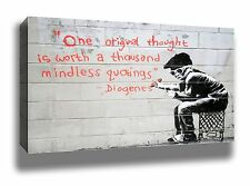 BANKSY ONE THOUGHT STREET ART GRAFFITI FRAMED POSTER CANVAS PRINT 18x12""