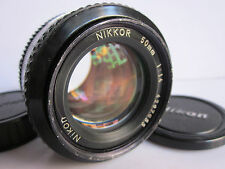 Nikon Nikkor Normal Prime 50mm f1.4 AI Manual Focus lens Front Back Caps.