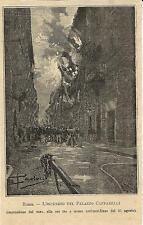 Stampa antica ROMA via Condotti incendio Palazzo Caffarelli 1893 Antique print
