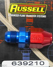 """Russell 639210 #6 6AN -6 to 3/8"""" Hard Line Fitting  Metal Tube Red Blue Aluminum"""