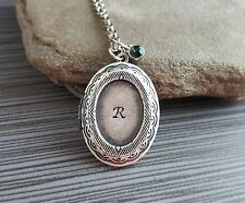 Handmade Hand Stamped Initial Personalized Birthstone Locket Necklace