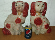 2X Rare Large Antique Staffordshire Earthenware Fireside Dogs