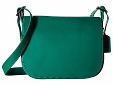 NWT COACH $395 FOREST GREEN GLOVE TANNED LEATHER SADDLE CROSSBODY  BAG
