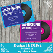 10 Personalised Birthday Invitations 30th 40th 50th Any Age Vinyl Record JEC0184