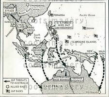 1942 WWII Map Allied Activity South Pacific  Press Photo