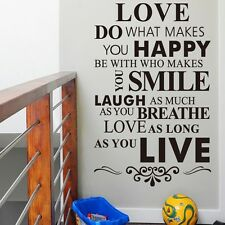 Love do what makes you Happy Art Pvc Wall Stickers Home Decor Words Wall decals