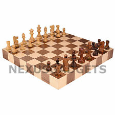 Chess BORDERLESS 18 INCH LARGE TOURNAMENT Board Game Set Wood Inlaid Pieces Tray