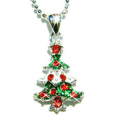 w Swarovski Crystal ~Red Green XMAS TREE~ Charm Pendant Necklace Holiday Jewelry