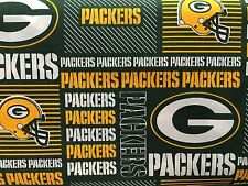 "GREEN BAY PACKERS NFL 60"" WIDE COTTON FABRIC BYT HALF YARD Fabric Traditions pw"