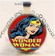Wonder Woman Photo Cabochon Glass Dome Silver Chain Pendant Necklace#E1