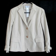 AKRIS Punto Beige & White Stripe Cotton Blazer Jacket size 8