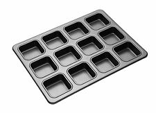 MASTERCLASS Kitchen Craft non stick 12 hole SQUARE BROWNIE baking pan BUN tray