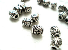 50 TIBETAN SILVER FLOWER SMALL DRUM TUBE SPACER BEADS 5mm x 6mm